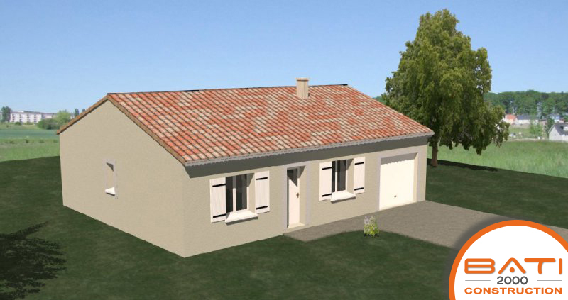 Plan maison traditionnelle pas cher de plain pied de 79 m for Construction maison pas cher